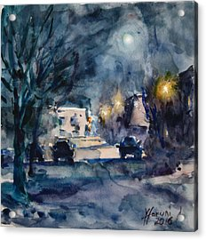 A Quiet Cold Night Under The Moon Acrylic Print