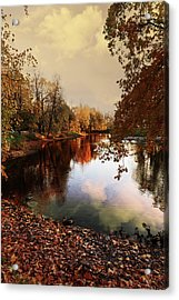 a quiet evening in a city Park painted in bright colors of autumn Acrylic Print