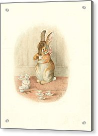 Acrylic Print featuring the painting A Rabbit's Tea Party by Beatrix Potter