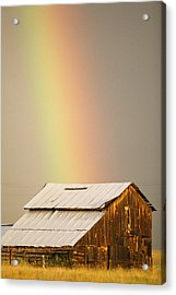 A Rainbow Arches From The Sky Onto Acrylic Print by Michael S. Lewis