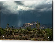 Acrylic Print featuring the photograph A Rainy Evening In The Superstitions  by Saija Lehtonen