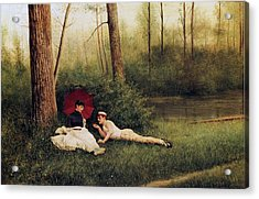 A Rest After Boating Acrylic Print by Georges Croegaert