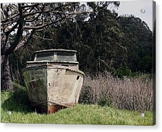 A Retired Old Fishing Boat On Dry Land In Bodega Bay Acrylic Print