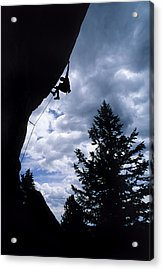 A Rock Climber Ascends A Steep Route Acrylic Print by Bill Hatcher