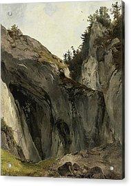 A Rocky Outcrop With Vegetation Acrylic Print by Friedrich Gauermann