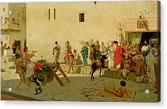 A Roman Street Scene With Musicians And A Performing Monkey Acrylic Print by Modesto Faustini