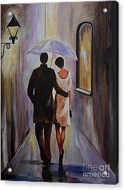 A Romantic Stroll Acrylic Print by Leslie Allen