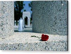 A Rose Memento At The World War II Memorial In Washington Dc Acrylic Print