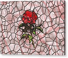 A Rose On Stained Glass Acrylic Print