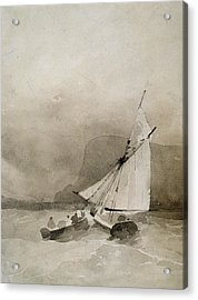 A Sailing Vessel And A Rowing Boat In Rough Seas Acrylic Print by Richard Parkes Bonington