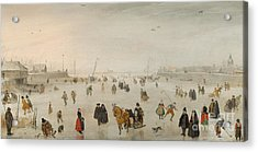 A Scene On The Ice, Acrylic Print by Hendrik Avercamp