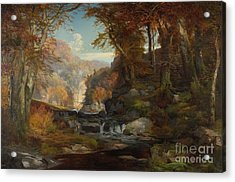 A Scene On The Tohickon Creek Acrylic Print by Thomas Moran