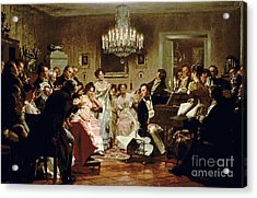 A Schubert Evening In A Vienna Salon Acrylic Print by Julius Schmid