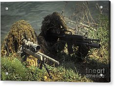 A Seal Sniper Swim Pair Set Up An Acrylic Print by Michael Wood