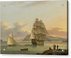 A Ship Of The Line Off Plymouth, 1817 Acrylic Print by Thomas Luny