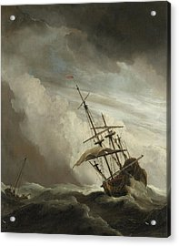 A Ship On The High Seas Caught By A Squall Acrylic Print by Willem van de Velde the Younger