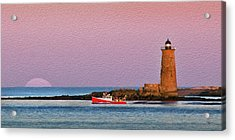 A Ship Passes The Super Moon And Whaleback Acrylic Print