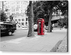 A Single Red Telephone Box On The Street Bw Acrylic Print