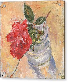 A Single Rose Acrylic Print by Horacio Prada