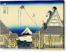 A Sketch Of The Mitsui Shop In Suruga Street In Edo Acrylic Print by Hokusai