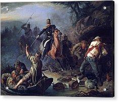 A Skirmish With Smugglers Acrylic Print by Vasily Grigorievich Khudyakov