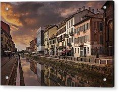A Sleepy Sunday At Naviglio Grande Acrylic Print by Carol Japp