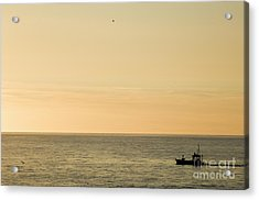 A Small Fishing Boat In Sunset Over Cardigan Bay Aberystwyth Ceredigion West Wales Acrylic Print