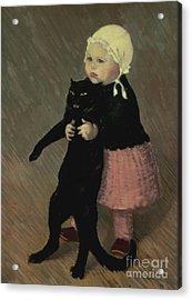 A Small Girl With A Cat Acrylic Print by TA Steinlen