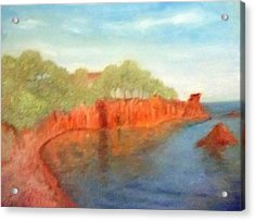 A Small Inlet Bay With Red Orange Rocks Acrylic Print