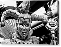 A Smile Behind The Scars B-w Acrylic Print by Christopher Holmes