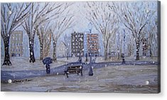 A Snowy Afternoon In The Park Acrylic Print by Daniel W Green
