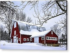A Snowy Day At Grey Ledge Farm Acrylic Print