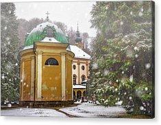 A Snowy Day In Salzburg Austria  Acrylic Print by Carol Japp