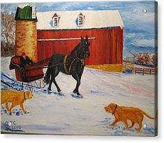 A Snowy Sleigh Ride Acrylic Print by Gloria Condon
