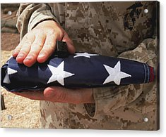 A Soldier Holds The United States Flag Acrylic Print by Stocktrek Images