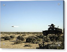 A Soldier Tests His Skill With The Tube Acrylic Print