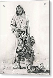 A Soldier's Prayer Acrylic Print by Linda Bissett