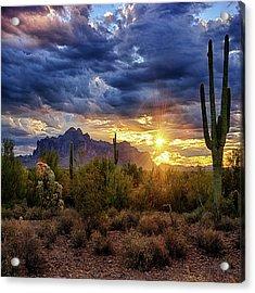 Acrylic Print featuring the photograph A Sonoran Desert Sunrise - Square by Saija Lehtonen