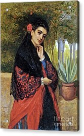 A Spanish Beauty In A Red And Black Lace Shawl  Acrylic Print by MotionAge Designs