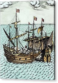 A Spanish Treasure Ship Plundered By Francis Drake Acrylic Print by Dutch School