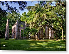 A Special Place Old Sheldon Church Ruins Acrylic Print by Reid Callaway