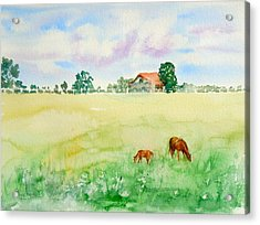 Acrylic Print featuring the painting A Spring Graze by Sharon Mick