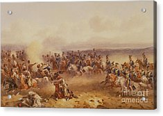 A Squadron Of The 10th Hussars Defeat The Russians At Tchernaya Acrylic Print by Orlando Norie