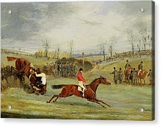 A Steeplechase - Another Hedge Acrylic Print by Henry Thomas Alken