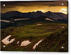 Acrylic Print featuring the photograph A Stormy Alpine Sunset by John De Bord