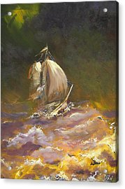 A Stormy Night At Sea Acrylic Print