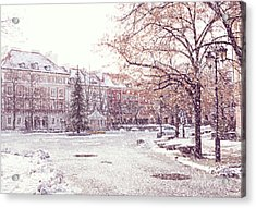 Acrylic Print featuring the photograph A Street In Warsaw, Poland On A Snowy Day by Juli Scalzi