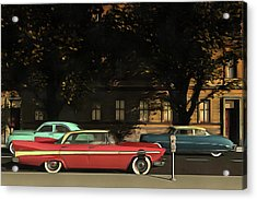 A Street With Oldtimers Acrylic Print