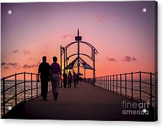 A Stroll Along Sunset Pier Acrylic Print