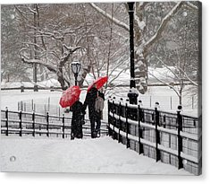 Winter Under Red Umbrellas Acrylic Print